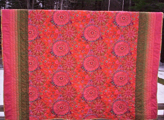 Reserved for Mary Hand quilted quilt, orange lap quilt, twin quilt, Kaffe Fassett , original design