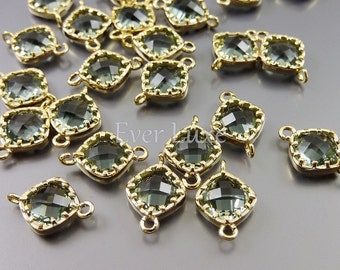 4 Small gray diamond shape faceted glass connectors for linking earrings bracelet necklaces 5061G-GR (bright gold, gray, 4 pieces)