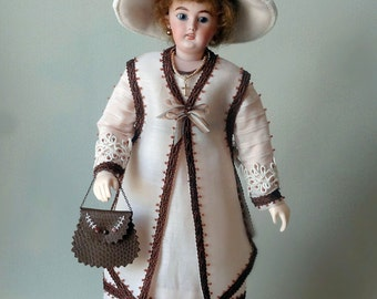 "12"" French Fashion doll  pattern for circa 1912 clothing, Downton Abbey era"