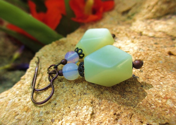 Jade and Brass Lace Earrings -- Hand-Polished Jade, Luminous Opalite, Antiqued Brass & Hypo-Allergenic Niobium Ear Wires // Disaster Relief