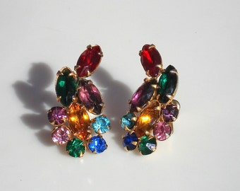 Vintage Gold Earrings with Multi Colored Paste Stones - Glam