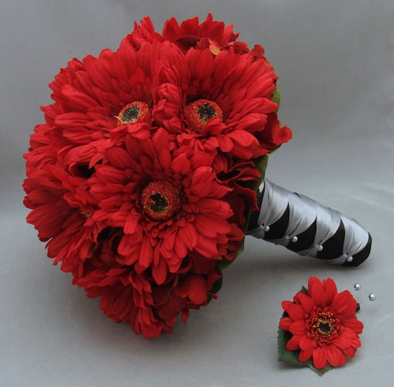 Red Gerbera Wedding Bouquets : Unavailable listing on etsy