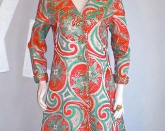 OSCAR de la RENTA BOUTIQUE Vintage Coat Metallic Paisley Tapestry Timeless Jacket - Authentic -