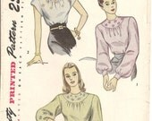 1940s Womens Peasant Blouse Pattern - Simplicity 1796 Vintage Pattern - 32 Bust