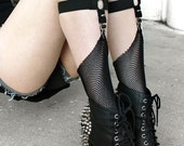 SPIKED SOCK GARTERS adjustable knee high / thigh high - black or white elastic