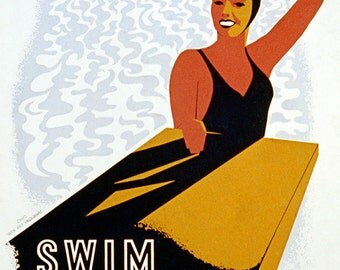 "New Giclee Print: Vintage WPA Reproduction Poster- ""Swim For Health""- 11""x 14"""