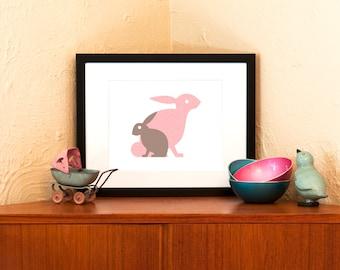 Honey Bunnies Art Print in Pink or Aqua Blue - Nursery Wall Decor (Free Shipping in US)