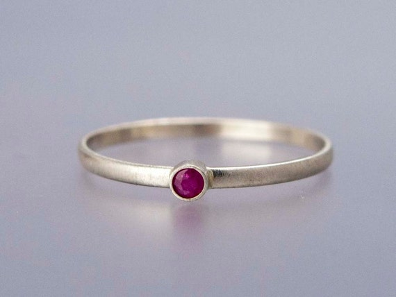 ruby and white gold ring thin engagement ring in solid 14k