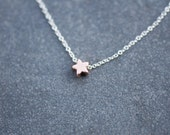 ROSE GOLD star necklace on delicate sterling silver chain, dainty star necklace, everyday necklace