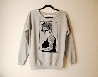 WOMENS Hand Printed Tattoo Lady Sweater by emilythepemily