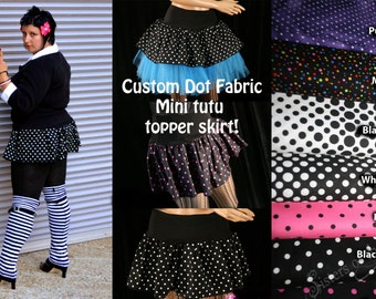 Custom Polk a dot micro mini skirt Adult tutu topper circle skirt roller derby gogo dance rave - You chose size & fabric -- SistersEnchanted