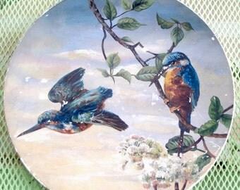 Antique Bird Plate, Victorian Folk Art, Parlor Style Art, Victorian Parlor Art, Vintage Bird Plate, Painted Porcelain Plate