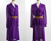 Vintage Pinstripe Dress, Purple Shirtdress, 70s Dress, Epaulet Dress, Sheer Dress, 1970s Dress, Boho Dress, Purple Shirtdress, Bust 42 Large