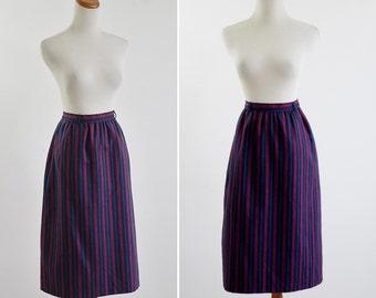 Vintage Striped Skirt -- 80s Wool Navy Magenta Black Pencil Skirt -- Medium //Deadstock
