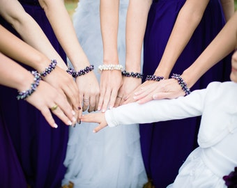 Purple Bridesmaid Jewelry Dark Purple Pearl Cluster Bracelet - Enigma for Purple Weddings
