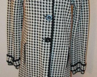 Houndstooth Jacket.  Houndstooth Coat. Dress Coat.  Houndstooth Suit Jacket.