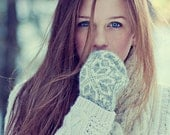 Girl with Mitten - Art Photograph - Beautiful - Blue Eyes - Snow - Woods - Spring - Nature - Norway
