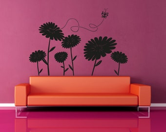 Vinyl Wall Decal Sticker Daisies and Butterfly OSAA1224B