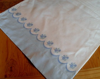 Vintage Pillowcase Feed Sack  blue border pillowcase made from a feed sack or flour sack