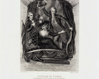 1887 Antique BALLOON print, gorgeous victorian fine photogravure of a  Balloon trip, The Ascension of Lunardi in 1785