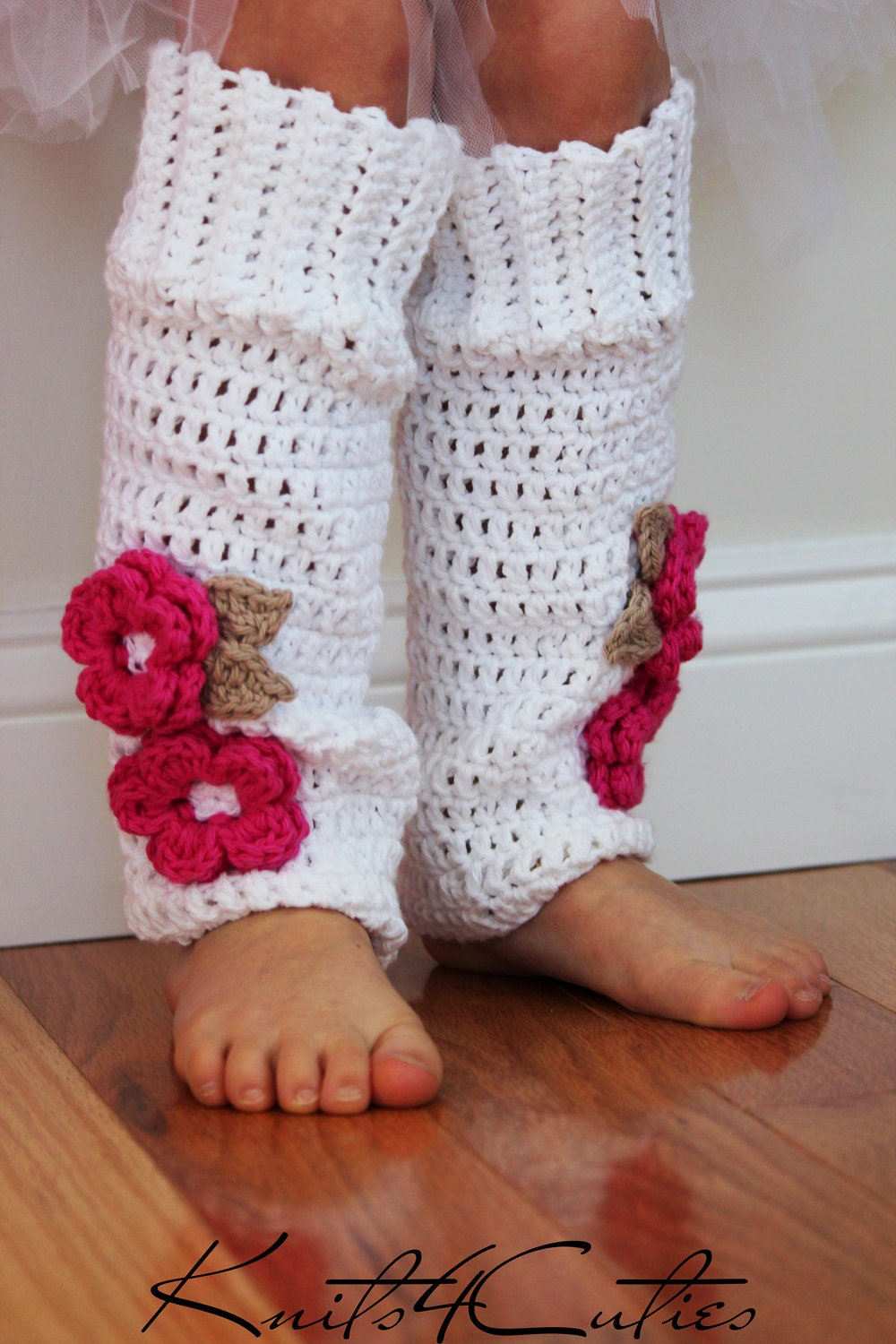 These leg warmers knit up fast and are cute to boot–a great addition to your little one's dance ensemble or adorably stylish winter outfit! They're also cute when flipped upside down and tucked into boots with the ruffle peeking out the tops.