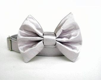 Satin Wedding Bow Tie Dog Collar - Silver