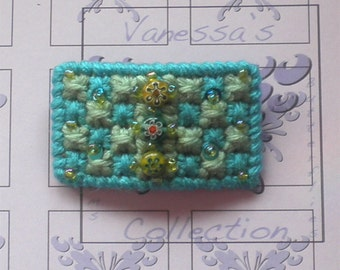 Turquoise Beaded Barrette Retro Clip Needlework Barrettes Clips, Handmade Hair Accessories Needlepoint Holiday Gifts