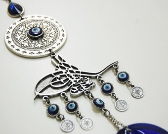 Ottoman Tughra Sultan Seal Evil Eye Wall Hanging Handmade Silver Plated
