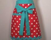 Apron Polka Dot -Womens Turquoise Half Apron with  Jumbo rick rack ready to ship