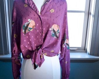 Vintage Diane Von Furstenberg DECO PRINT Blouse