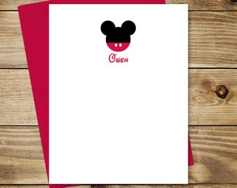 Mickey Mouse Inspired Personalized Flat or Folded Note Cards - Set of 10