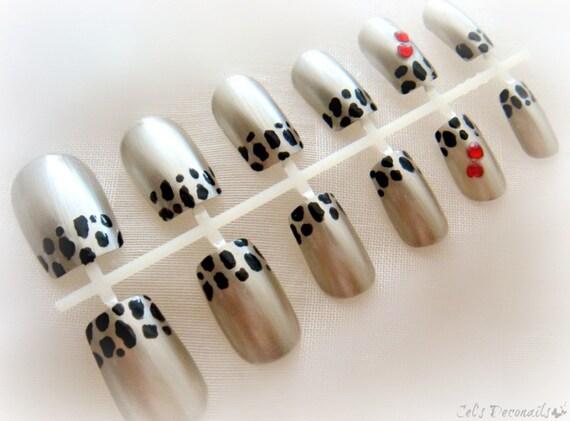 Cheetah French tipped metallic nails, animal print false nail set, gyaru nail
