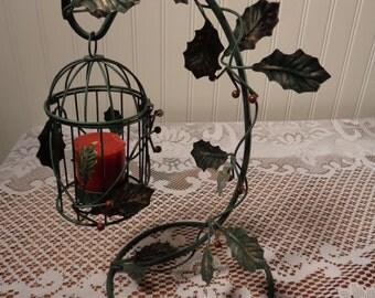 Vintage Green Hanging Birdcage - Candle Holder  -  15-562