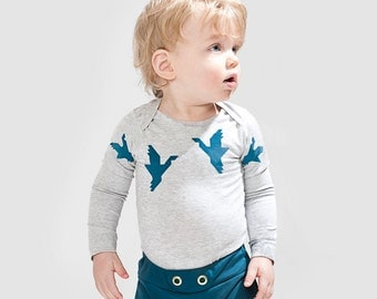 1000 Cranes - Organic longsleeve Onesie. Organic grey melee cotton one piece / bodysuit romper and perfect baby shower gift