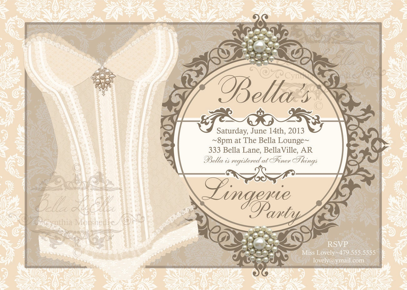 Lingerie Party Invitation Bachelorette Party Bridal Shower