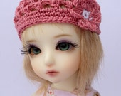"""BJD Beanie Hat with Flower for 6/7"""" head MSD YoSD - Rose"""
