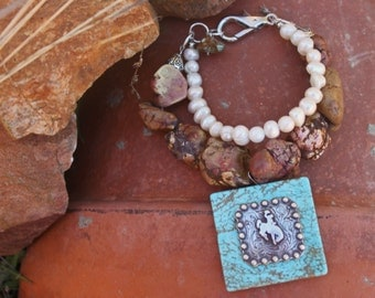 Ruidoso Cowgirl Pearl and Natural Brown Turquoise Stone Chunky Bracelet with Turquoise Bucking Horse Rodeo Cowgirl Pendant