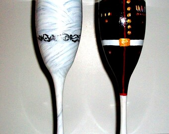 Bride and Groom Wedding Dress and Marine Uniform, Army, Navy, Airforce Uniform Hand Painted Set of 2 / 6 oz. Champagne Flutes