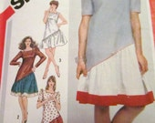 1980's SQUARE NECKLINE, ASYMMETRICAL Dress Simplicity Pattern 5893 Easy to Sew