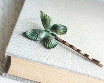 Butterfly Hair Pin Bobby Pin Verdigris Patina Insect Hair Pins Wings Teal Green Nature Bug Hair Accessories Rustic Nature Woodland Wedding
