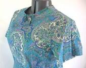 46B-43W-48H, plus size vintage dress, 1960's dress, XXL vintage dress, paisley print, peacock blue, grass green, about a modern size 18