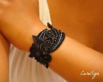 Black cuff Bracelet,bridal cuff black bracelet,Lace Cuff Bracelet,embroidered jewelry bracelets,victorian bracelet black corsage bracelet