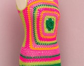 RESERVED Flower Power-Hippie-Hippy  Boho Dress-60's-70's-Mood - AOD from Ainur Crochet Dress Tunic -Red -Neon Pink  Lime