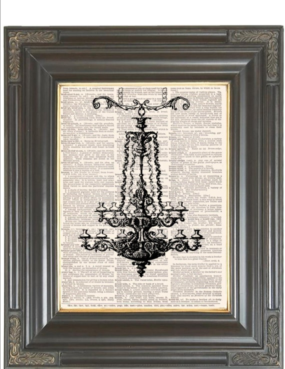 Chandelier lighting print wall decor 20 OFF SALE Print on dictionary or Sheet Music page Digital print Home & Living decor Item No 365