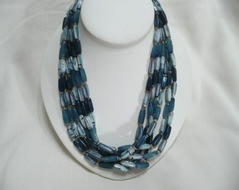 "Vintage Hong Kong 19"" Multi Strand Necklace in Shades of Teal Blue"