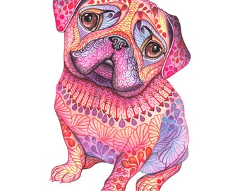 "Pug dog, high quality art print, hot pink ""Pugberry"", size 8x10, (No. 56)"