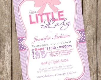 It's a little lady girl baby shower invitation, pink, purple, chevron, printable invitation 12345