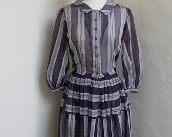 Beautiful Vintage 1950's Handmade Silk Organza Dress - Size 6