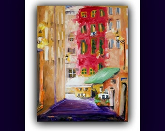 """A Day in France"""" Original Oil Painting (french cafe', chairs, table, building, windows) signed by DanaC"""
