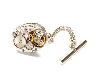 GORGEOUS Steampunk Tie Tack STRIPED HAMILTON 757 Mens Tie Tack Pin Vintage Watch Silver Wedding Steampunk Jewelry by Victorian Curiosities